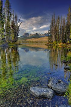 ✯ A favorite place in Idaho if Little Redfish lake in the Sawtooth Mountains of Idaho. This is a shot of its outlet with Mount Heyburn in the background ..  by The Knowles Gallery✯