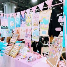 """""""All set up for the weekend at Otakon! 💖 Table in the artist alley! Vendor Displays, Craft Booth Displays, Vendor Booth, Display Ideas, Booth Ideas, Shop Organisation, Starting An Etsy Business, Etsy Shop Names, Artist Alley"""