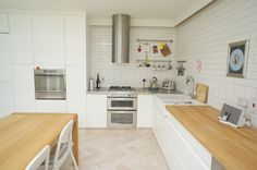 Bright and modern Dublin kitchen with interesting tiling