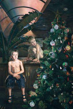 Deborah Poynton South African) - Interior with Christmas tree Deborah Poynton South African) African Interior, Photographic Film, Nude Portrait, Figure Painting, African Art, Kids Christmas, Art Museum, Art History, Contemporary Art