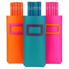 Leather pencil pouches with 5 HB pencils. Cheer up your school or college pencil case with colourful stationery.