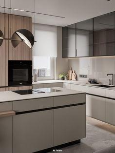 Kitchen Room Design, Modern Kitchen Design, Living Room Kitchen, Kitchen Interior, New Kitchen, L Shape Kitchen, Küchen Design, House Design, Interior Design