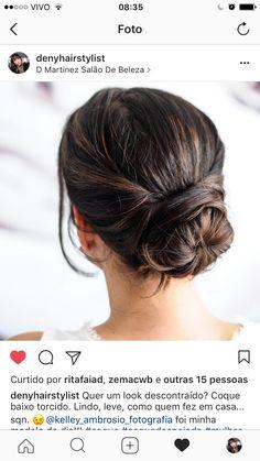 Penteado updo cabelos marrons preso madrinha casamento salaodmartinez insta @denyhairstylist
