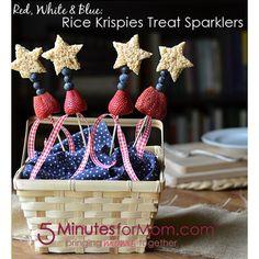 Rice Krispy Treat Sparklers from @5minutesformom  #Healthy #4thofJuly #Desserts