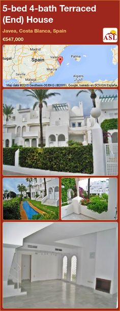 Terraced (End) House for Sale in Javea, Costa Blanca, Spain with 5 bedrooms, 4 bathrooms - A Spanish Life Bathroom Fireplace, Window Shutters, Murcia, Seville, Malaga, Townhouse, Terrace, Costa, Madrid