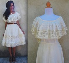 Vintage 50s 60s Ivory Off the Shoulder Mexican Sun Dress (size medium)