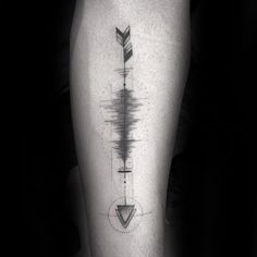 Arrow Soundwave Mens Inner Forearm Tattoo Design Inspiration #tattoosmensforearm