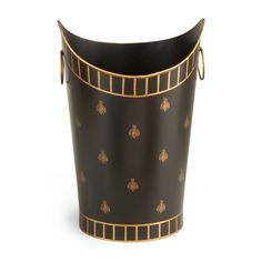 Chelsea House Bee Wastebasket Features: Black and gold finish Hand painted Measurements: Overall Dimensions: w x d x h Carton Dimensions: w x d x h Packed Volume: cu. Contemporary Candles, Soap Pump, House Gifts, Trash Bins, Ship Lap Walls, Room Accessories, Queen Bees, House Painting, Chelsea
