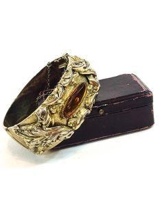 Amazing Victorian Revival Gold Multi Strand Stone Bookchain Bracelet ~ Floral Repousse Pearl Faceted Colorful Antique Ornate ~ Art Nouveau