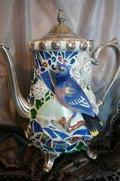 Mosaic on silver coffee pot (tea cups to match for a tea/coffee set) Tile Art, Mosaic Art, Mosaic Glass, Mosaic Birds, Mosaic Flowers, Pebble Mosaic, Mosaic Crafts, Mosaic Projects, Mosaic Ideas