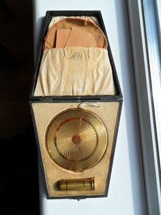 Vintage Art Deco Le Rage Brass Powder Compact & Lipstick Boxed Set circa 1940s