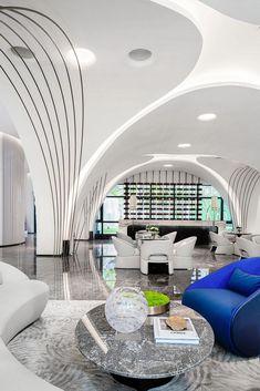 Futuristic Interior, Futuristic Design, Luxury Home Decor, Luxury Homes, High Ceiling Living Room, Dubai Houses, Zen Space, Column Design, Clinic Design
