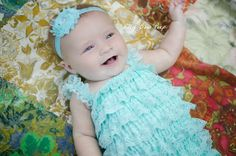 Blue Green Lace Petti RomperBaby Girl by LillyBowPeep on Etsy, $9.99