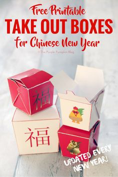 These free printable Chinese take out boxes are a new addition to my printable freebies. Just print, fold and assemble - make great party favors! Chinese Party Decorations, Chinese Theme Parties, Chinese New Year Party, Christmas Party Themes, New Years Decorations, New Years Party, Christmas 2019, Corporate Gift Baskets, Corporate Gifts