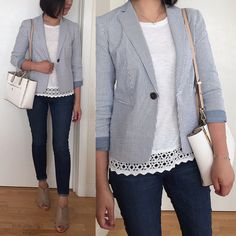 #OOTD:  @anntaylorstyle #seersucker jacket + @LOFT lacy Tee (full outfit details on www.whatjesswore.com)