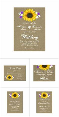 Rustic Sunflower Kraft Paper Wedding Invite Set