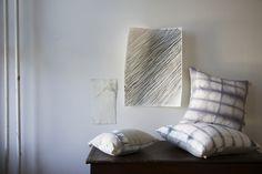 Playful printed pillows and art