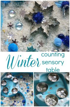 Put together a simple and inviting winter themed counting sensory table, for exploring textures, sorting and counting small amounts of tactile items in play! Playful maths learning with a seasonal, Wi Sensory Tubs, Sensory Boxes, Sensory Activities, Sensory Play, Preschool Activities, Winter Activities For Toddlers, Snow Activities, Multi Sensory, Preschool Education