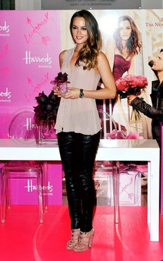 Leighton Meester wearing Vera Wang Fall 2011 Rtw Rose Pleated Sleeveless Top, Vera Wang Pre-Fall 2011 Leather Pants, Brian Atwood Rina Platform Sandals and Dannijo Fall 2011 Knot Bracelet.