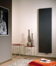 Black decorative radiator in a hall