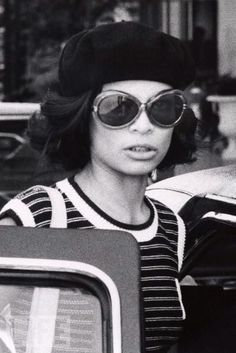 Bianca Jagger 70s style inspo beret stripe tshirt