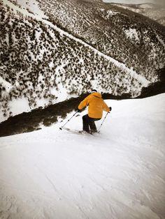 Skier at Mt Hotham ski resort in Victoria, Australia. #snowaus