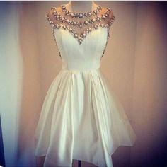 e3f1bc54eed6e White Miniskirt Pearls Beaded Homecoming Dress. ホームカミングの白いドレス ...
