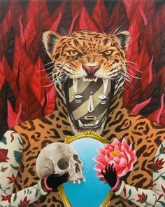 """""""Jaguar"""" by Saddo. Artist statement: """"inspired by different deities and elements of shamanic rituals from Aztec, Olmec and Mayan religion and mythology."""""""