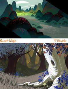 Scott Wills BG paintings for Samurai Jack