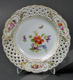 Antique Meissen Floral Plate   c.1890