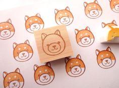 Shiba inu stamp, Japanese stationery, Kawaii dog stamp, Gift idea, Pet lover gift, Wrapping paper, Kawaii stamp, Handmade stamp, Hobonichi