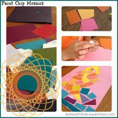 Beneath the Rowan Tree: Summer Kid Crafts :: Paint Chip Mosaics