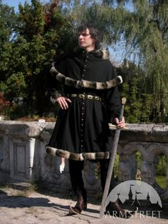 Medieval Wool Coat Tunic Garb - Tappert And Hood