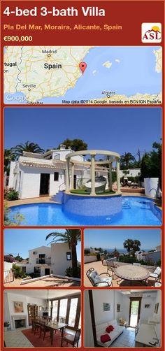 4-bed 3-bath Villa in Pla Del Mar, Moraira, Alicante, Spain ►€900,000 #PropertyForSaleInSpain