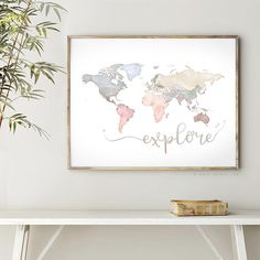 Explore WATERCOLOR MAP of the World Instant Download Large