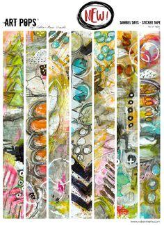 Roben-Marie Smith - Art Pops™ Sticker Tape from the Sanibel Days™ Collection Each sticker is… Pop Stickers, Printable Stickers, Planner Stickers, Free Printables, Bullet Journal Art, Art Journal Pages, Art Journals, Junk Journal, Collage Sheet