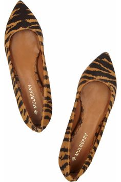 Tiger-print calf hair ballet flats by Mulberry