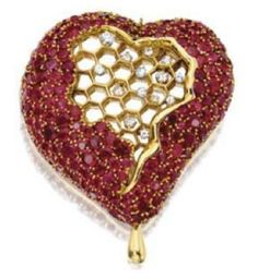 Heart of the Honeycomb Diamond, Ruby, and Gold Brooch by Salvador Dalí