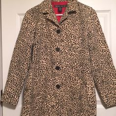 Silkland Woman Beige Leopard Print lined Jacket Beige Leopard Print lined with red.  It is trendy, fun and lightweight.  Has 2 pockets.  Shell of it is 65% Rayon, 32% Polyester, 3% Spandex.  Style RN#88820.  Only worn once.  Like new. Silkland  Jackets & Coats Trench Coats