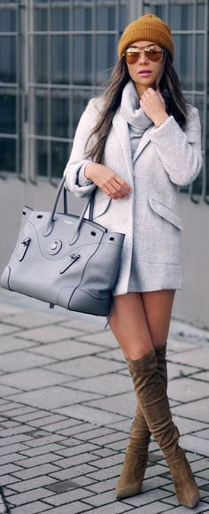 Shop this look on Lookastic:  http://lookastic.com/women/looks/beanie-sunglasses-cowl-neck-sweater-coat-tote-bag-over-the-knee-boots/8802  — Mustard Beanie  — Gold Sunglasses  — Grey Cowl-neck Sweater  — Grey Coat  — Grey Leather Tote Bag  — Brown Suede Over The Knee Boots