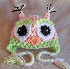 Crochet Baby Hat  Crochet Baby Owl Hat  2 sizes by TheBabyCrow, $25.00