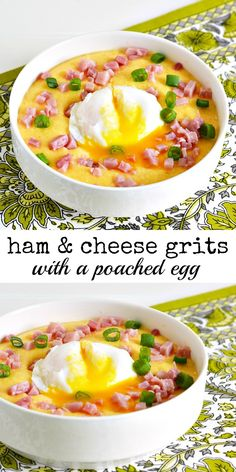 Ham and Cheese Grits with a Poached Egg Breakfast Recipe