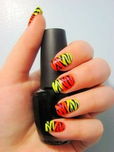 Nails of the Day - Neon Zebra Print Pink Acrylic Nails, Neon Nails, Love Nails, How To Do Nails, Pretty Nails, Art Nails, Zebra Stripe Nails, Zebra Print Nails, Pink Zebra