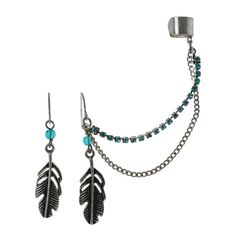 Feather Drops with Single Chain Ear Cuff