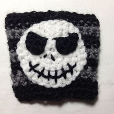 "Family Craft Studio ""Crochet Jack Skellington Coffee Cozy Pattern"" -- this blog post has the crochet pattern I wrote up for the Jack Skellington Coffee Cozy, based on the Nightmare Before Christmas film character Jack Skellington."