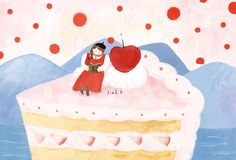 cake and girl - 12 cake Illustration wallpaper ideas Cake Illustration, Kawaii Illustration, Japanese Illustration, People Illustration, Illustrations, Korean Painting, Painting For Kids, Food Drawing, Painting & Drawing