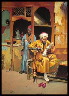The coffee house😀 The Coffee House, Arthur Ferrari,1888 At Cairo Bazaar😁. #wind_and_wave #egyptian_papyrus #old_egypt