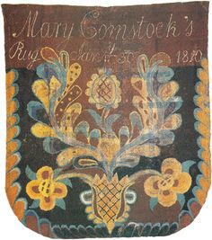 Mary Comstock hooked this design as a Bed rugg at age 66 in Shelburne, VT. Penny Rugs, Bed Rug, Whole Cloth Quilts, Rug Inspiration, Rug Hooking Patterns, Hand Hooked Rugs, Braided Rugs, Floral Rug, Antique Quilts