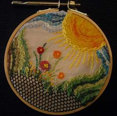 hand embroidered link double chain stitch sample
