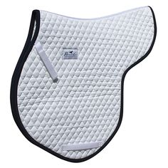 Gina Miles Contoured Saddle Pad is designed to follow the curve of the spin and fit in the gullet of the saddle. Unique billet strap design allows for added security by attaching to D-rings on Monoflap style saddle, or for use with traditional saddles. Available with several trim colors.